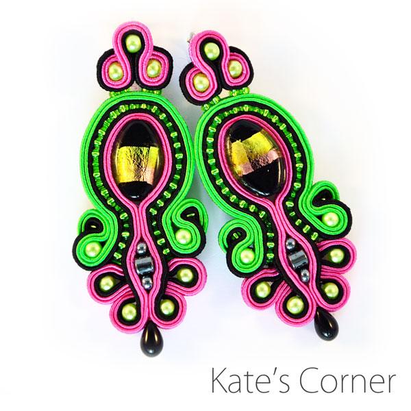 Fuchsia & Green – Soutache Earrings