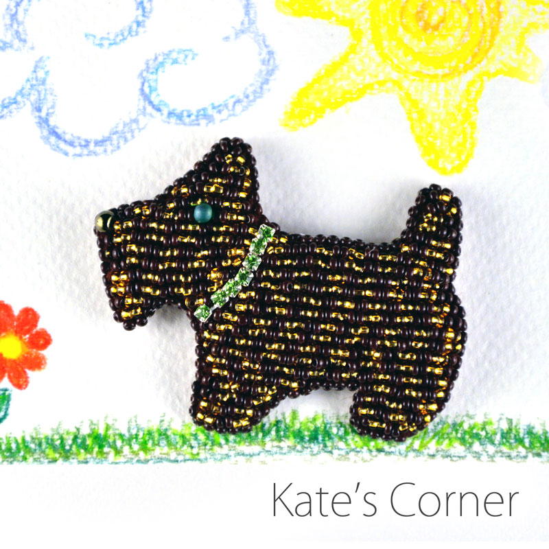 Beaded dog brooch