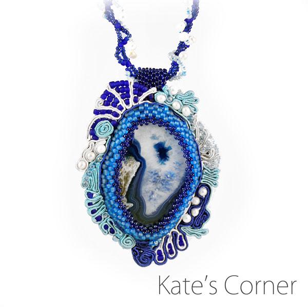 Blue agate pendant