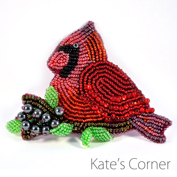Cardinal beaded brooch