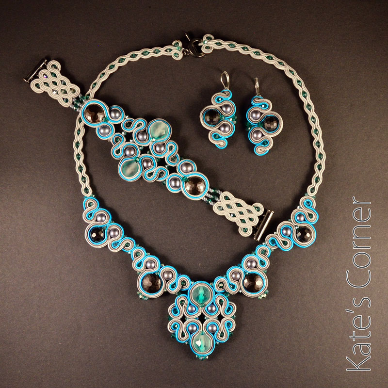 Turquoise-grey jewellery set