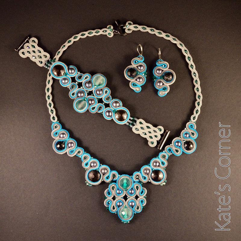 Turquoise-grey jewellery set