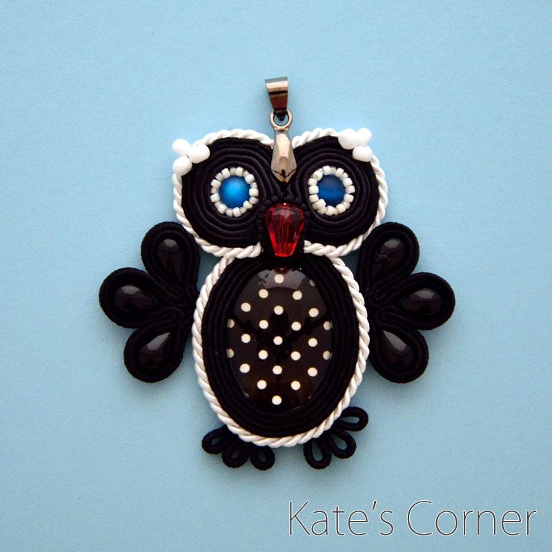 Black owl pendant