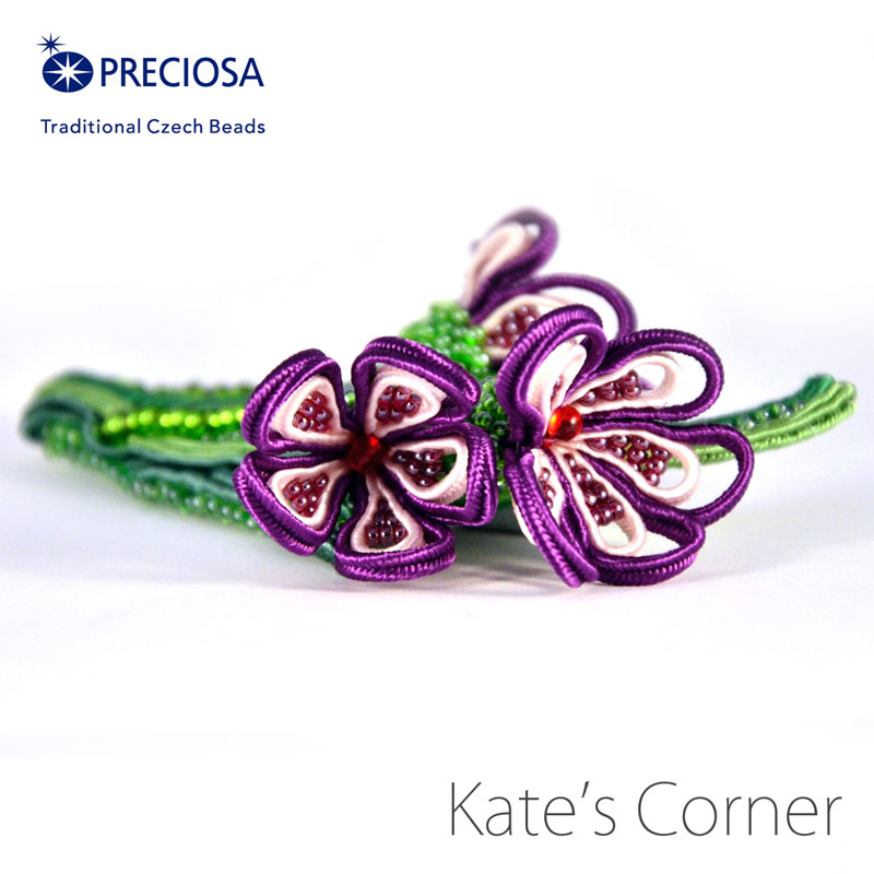 Purple flowers brooch