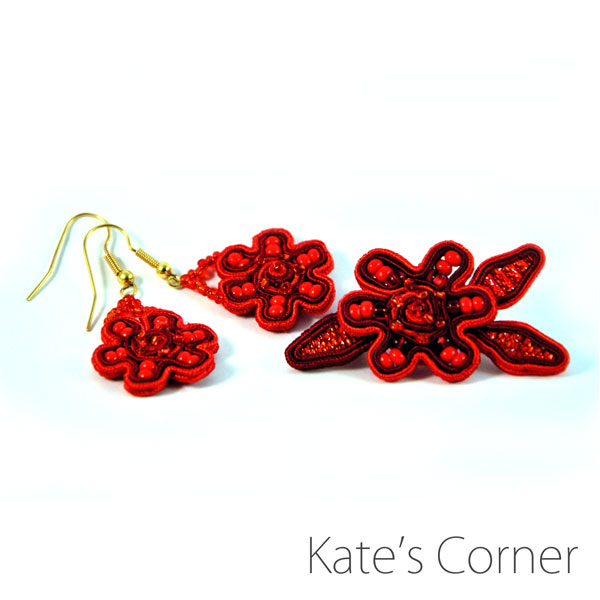 Red floral set - earrings and brooch