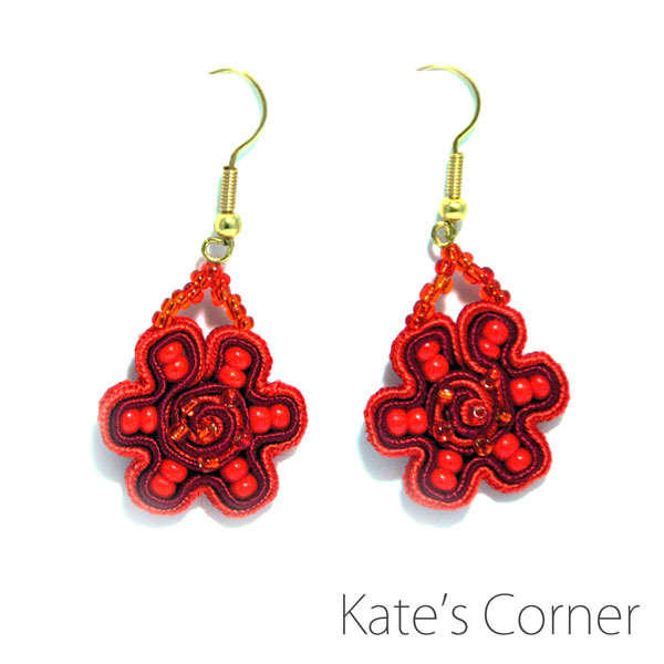 Small red flower earrings