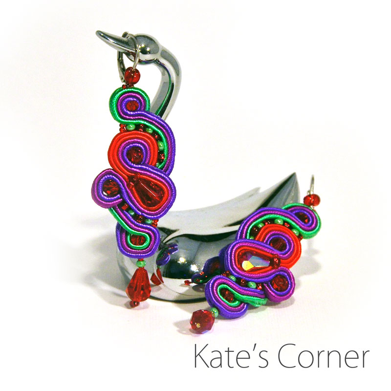 purple-red-green earrings