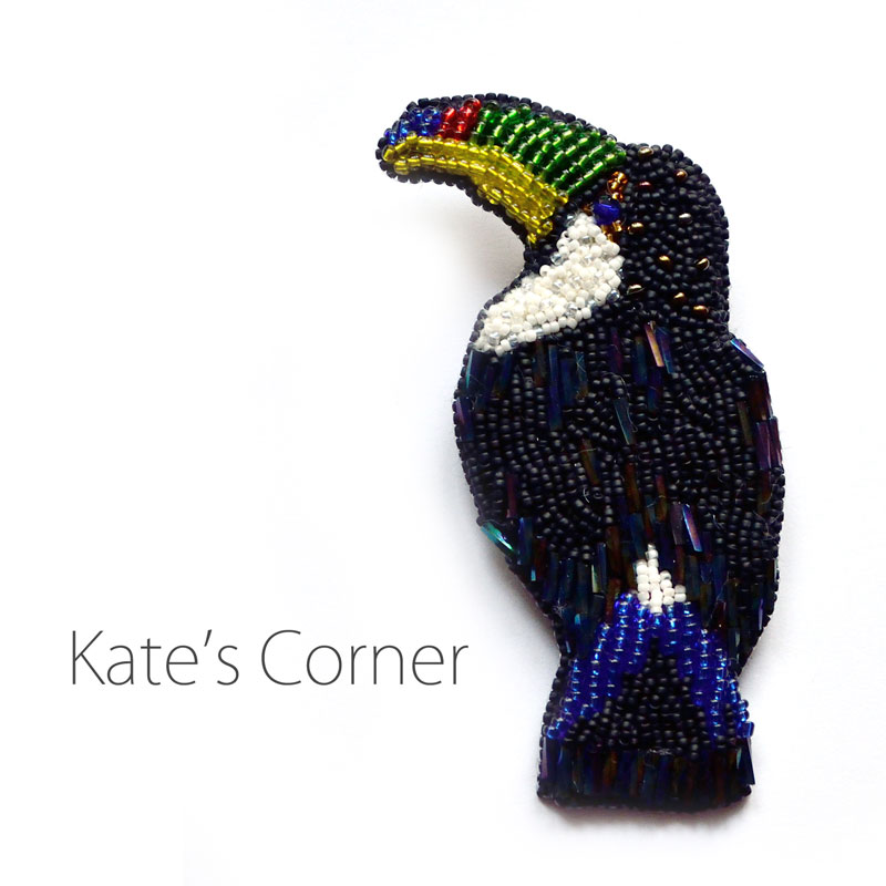 Beaded toucan brooch