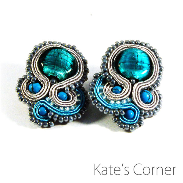 Turquoise-gray earrings