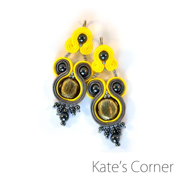 Yellow-gray earrings