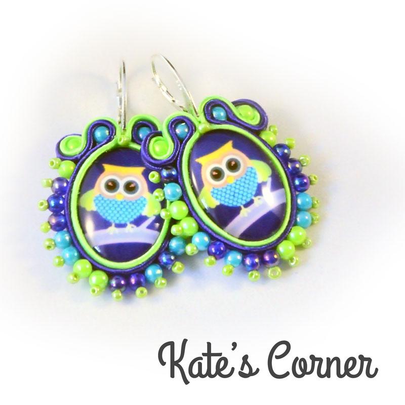 Blue owl earrings