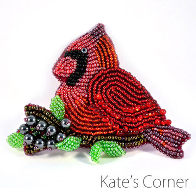 Cardinal — Beaded brooch
