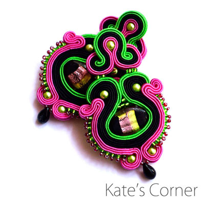 Fuchsia & Green – Soutache Earrings