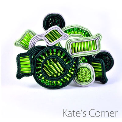Green Brooch – soutache