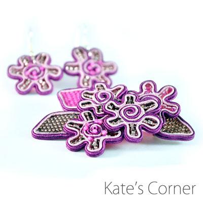 Purple set – brooch and earrings