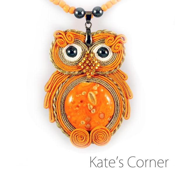 Orange owl pendant