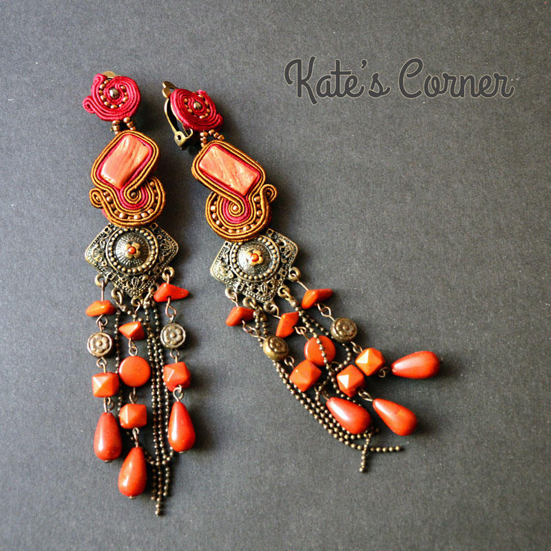 Red long earrings