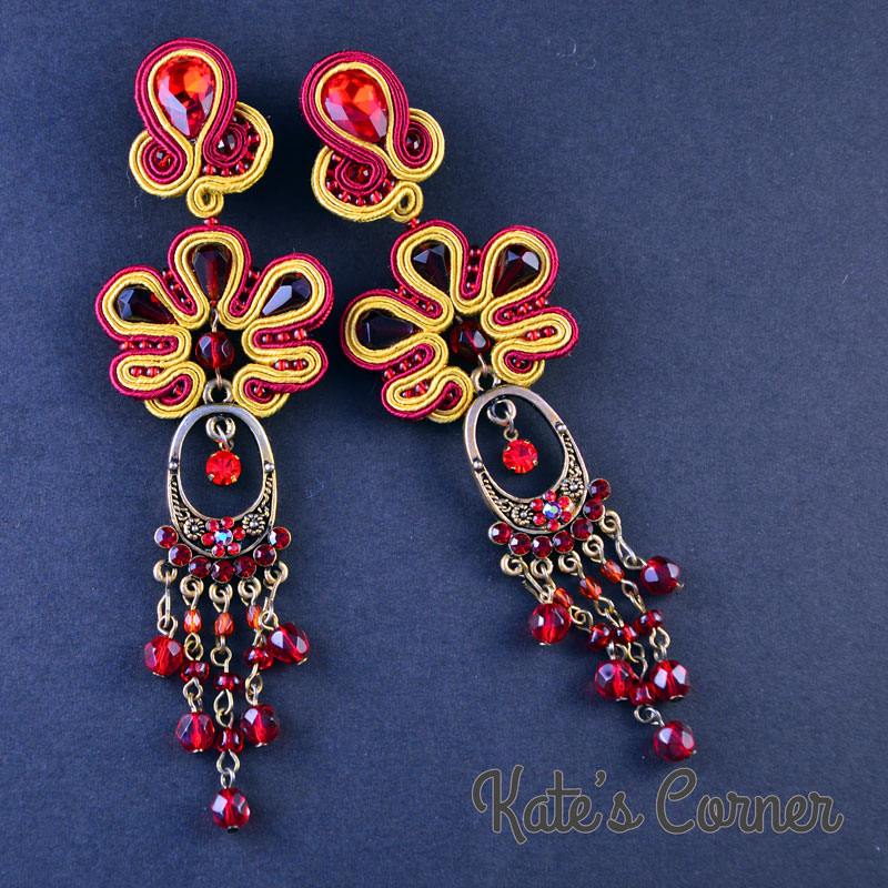 Long gold-red earrings