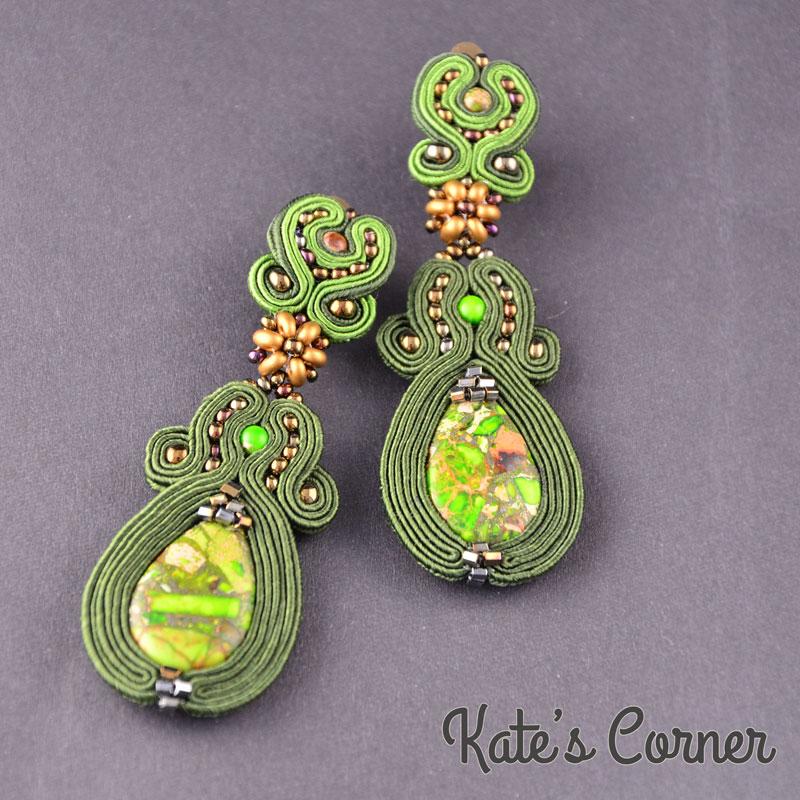 Green Jasper Soutache Earrings