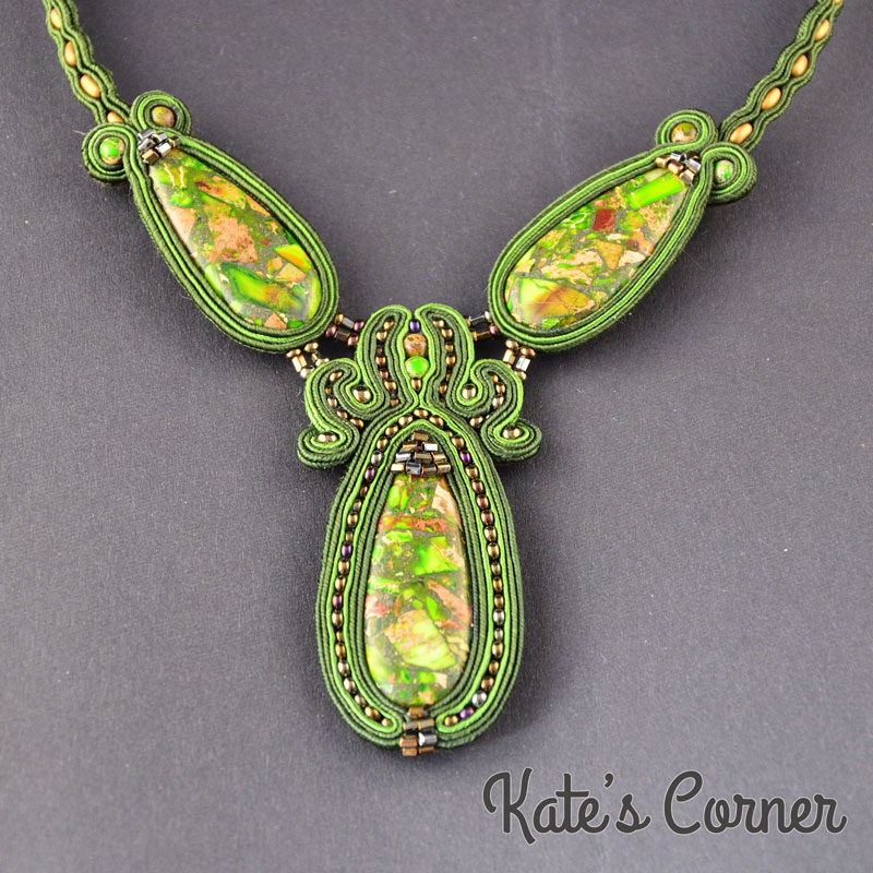 Green Jasper Soutache Necklace