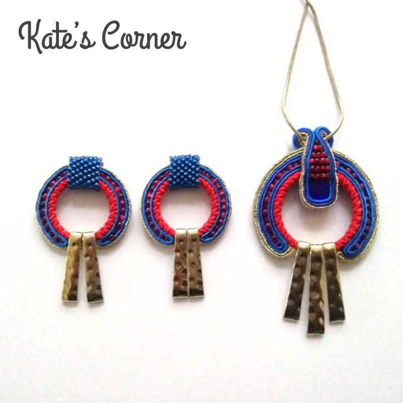 Blue and red earrings and pendant