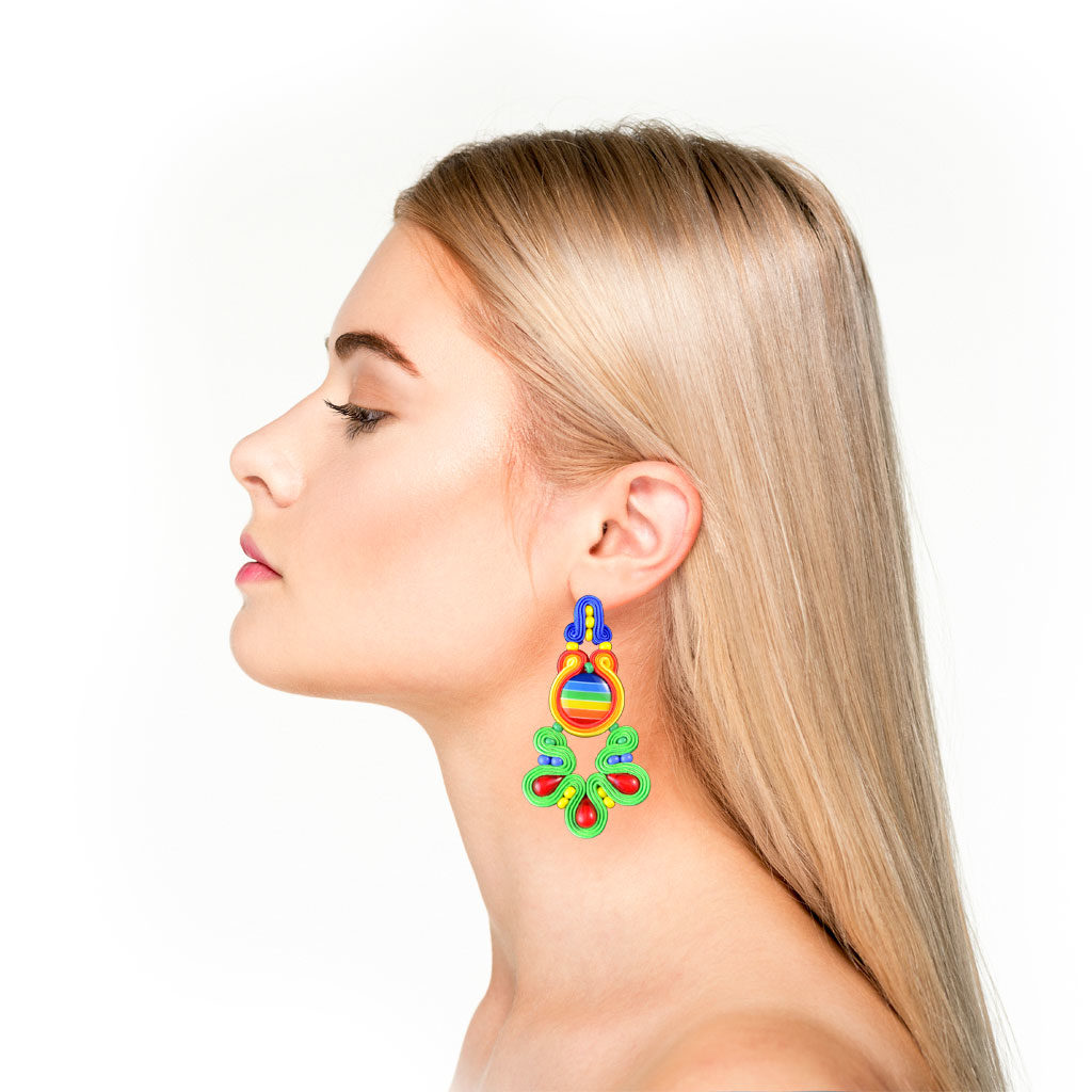 Woman wearing earrings