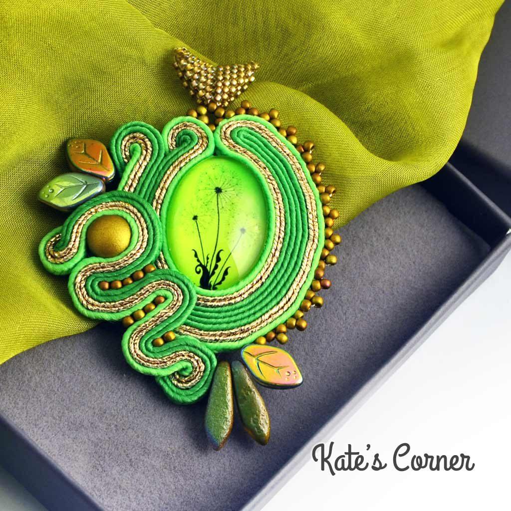 Green dandelions pendant