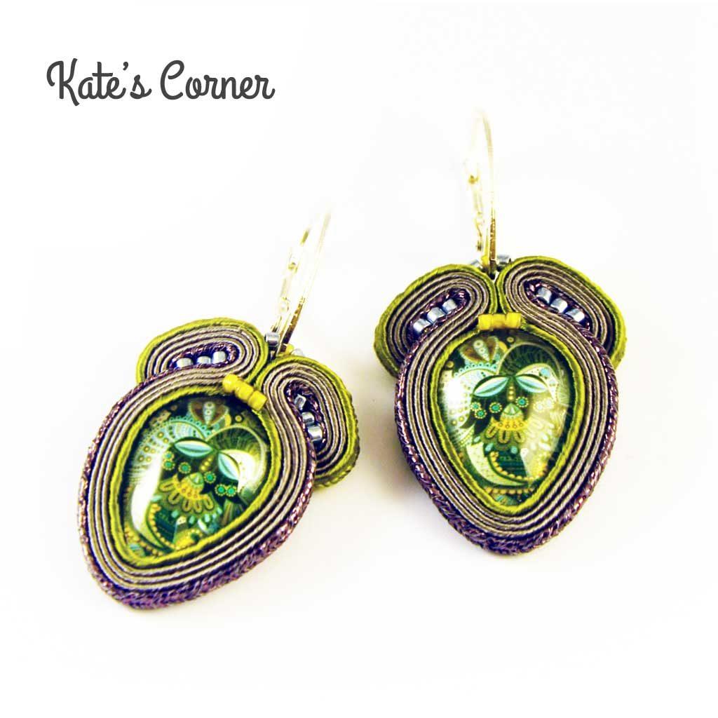 Grey green earrings