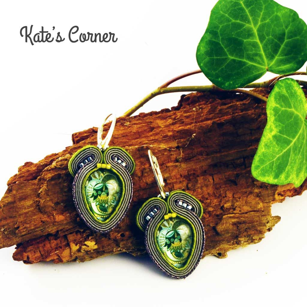 Soutache grey green earrings