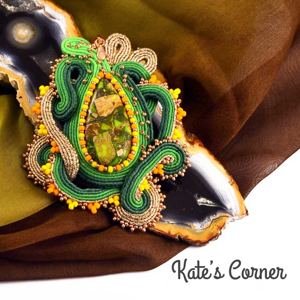 Jasper in a green and gold soutache