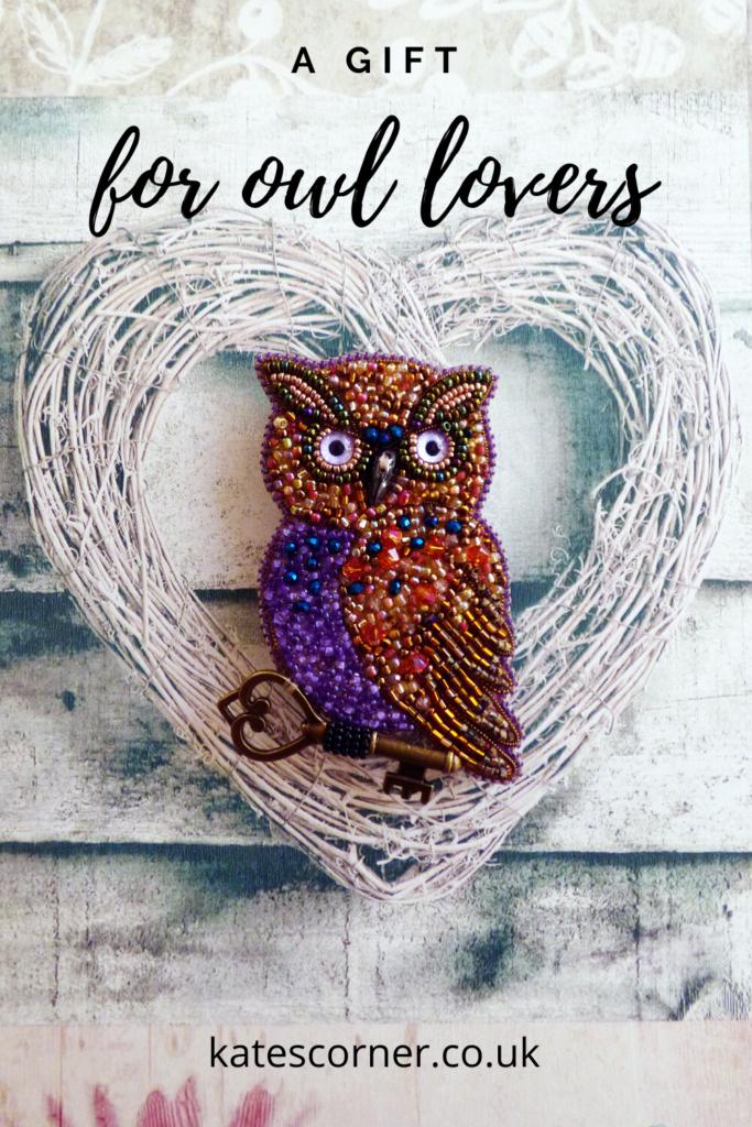 Purple owl beaded brooch