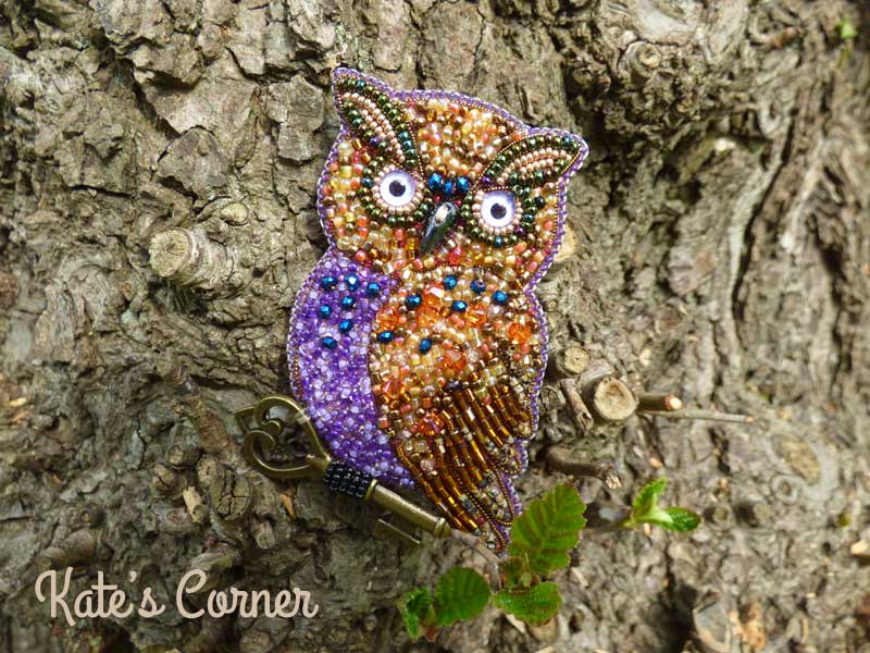 Purple owl brooch