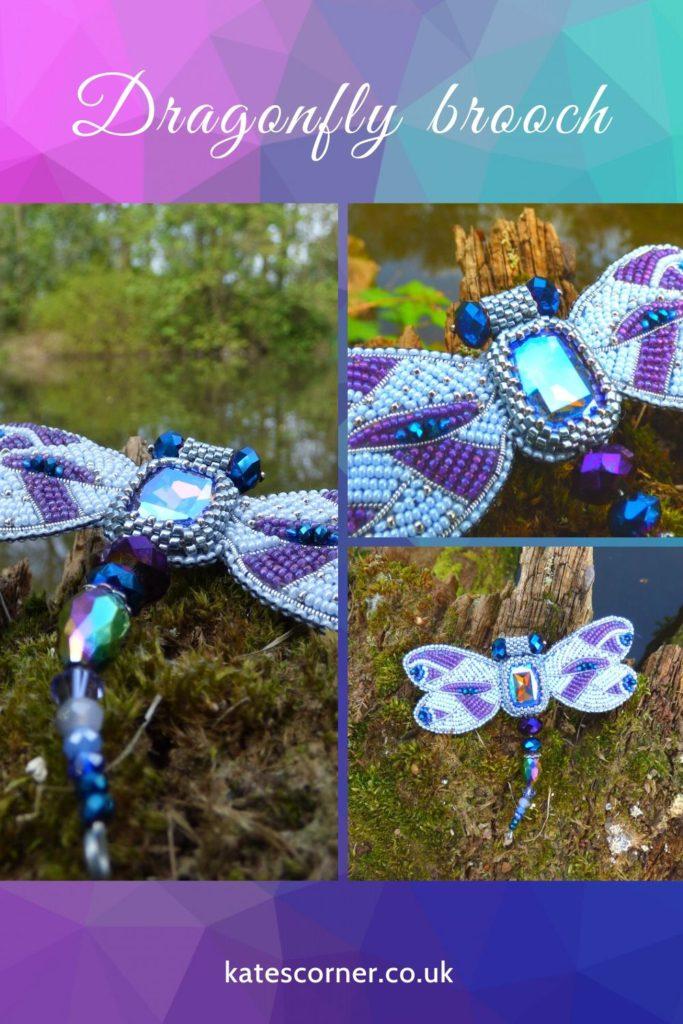 Purple dragonfly brooch