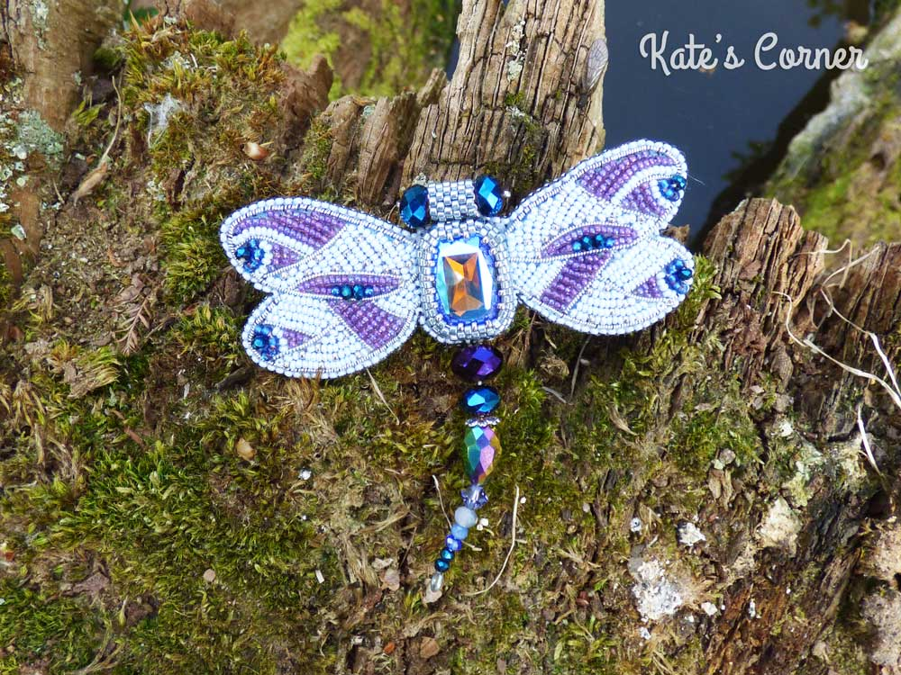 Purple dragonfly brooch